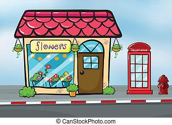 sklep, kwiat, callbox