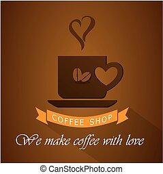 sklep, logo, kawa