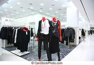 sklep, mannequins, odzież