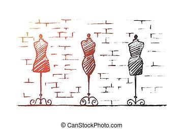sklep, mannequins, samicza ręka, ciało, pociągnięty, fason