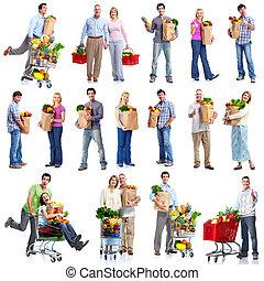 sklep spożywczy, cart., ludzie