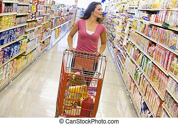 sklep spożywczy, kobieta shopping, zaopatrywać
