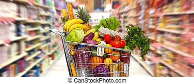 sklep spożywczy, pełny, cart.