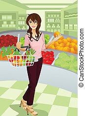 sklep spożywczy shopping, kobieta