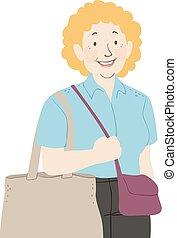 sklep, starsza kobieta, ilustracja