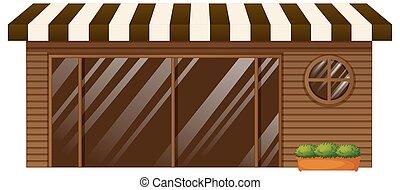 sklep, szkło, kawa, drzwi