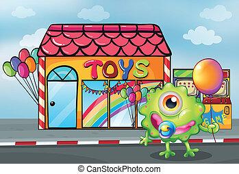 sklepowy przód, zabawka, potwór