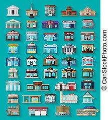 sklepy, zabudowanie, komplet, miasto, płaski