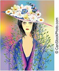 skoczcie kwiecie, dama, kapelusz
