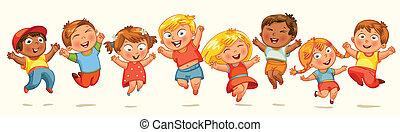 skok, joy., chorągiew, dzieci