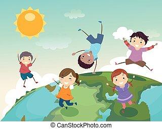skok, kula, dzieciaki, stickman