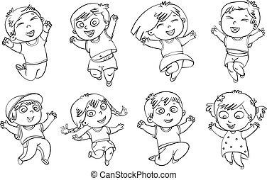 skok, radość, dzieci