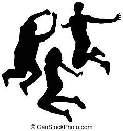 skok, silhouettes., 3, przyjaciele, jumping.
