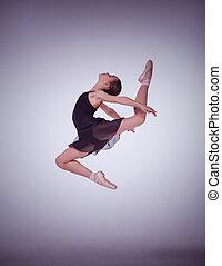 skokowy, balet, bez, młody, tancerz, tło., sylwetka