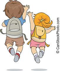 skokowy, chodząc, prospekt, wstecz, plecak, dzieciaki
