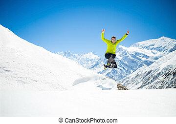 skokowy, człowiek, zima, szczęśliwy, góry