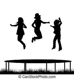 skokowy, dzieci, trampolina, ogród