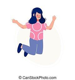 skokowy, dziewczyna, dziecko, ilustracja, radosny, szczęśliwy, posiadanie, brunetka, wektor, radosny, zabawa