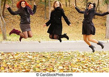 skokowy, dziewczyny, trzy