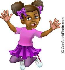 skokowy, koźlę, szczęśliwy, dziewczyna, rysunek, litera, dziecko