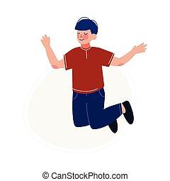 skokowy, naście, ilustracja, radosny, chłopiec, szczęśliwy, posiadanie, wektor, radosny, zabawa