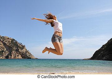 skokowy, plaża, szczęśliwy, nastolatek