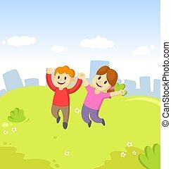 skokowy, siła robocza, dziewczyna, ich, radość, błękitny, szczęśliwy, niebo, młody chłopieją, miasto, tło., rysunek, dzieciaki, powietrze