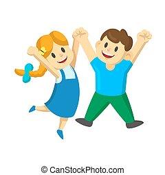 skokowy, siła robocza, powietrze., dziewczyna, ich, radość, ilustracja, szczęśliwy, młody, odizolowany, chłopiec, biały, wektor, tło., rysunek, dzieciaki, płaski