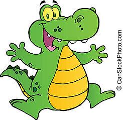 skokowy, szczęśliwy, aligator