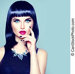 skraj, fryzura, makijaż, wysoki fason, manicure, modny, portret, wzór, dziewczyna