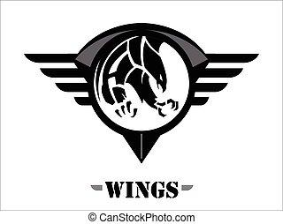 skrzydło, orzeł, cielna, sokół, czarnoskóry, pazur, ostro, sokół, atakując