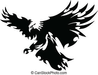 skrzydełka, orzeł, maskotka, projektować, przelotny