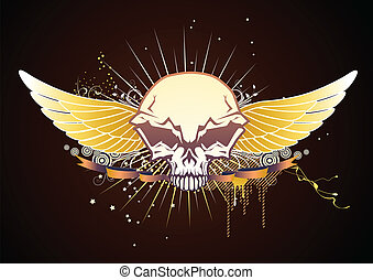 skrzydlaty, emblemat, czaszka