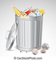 skrzynia, śmieci, pełny, odpadki