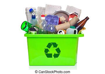 skrzynia, biały, recycling, zielony, odizolowany