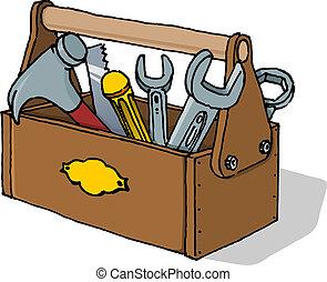 skrzynka na narzędzia, wektor, ilustracja
