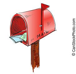 skrzynka pocztowa, rysunek, ikona