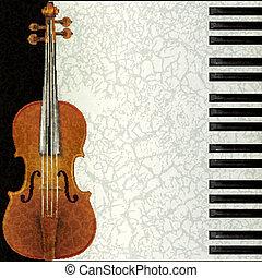 skrzypce, abstrakcyjny, muzyka, piano, tło
