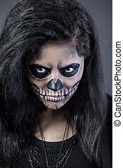 skull., kobieta, sztuka, halloween, maska, młody, zmarły, twarz, dzień
