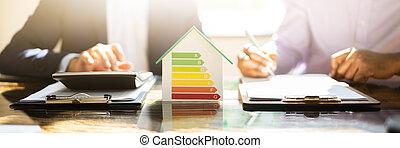 skuteczny, używając, dom, kalkulator, rewizja, energia