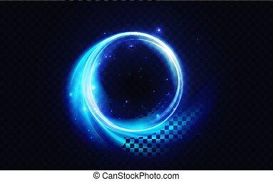 skutek, migotać, błękitny, neonowe światło, wiry, świecący, jarzący się, formułować, ogień, abstrakcyjny, koło, energia