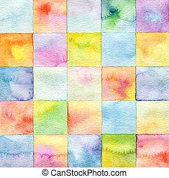 skwer, akwarela, tło, abstrakcyjny, barwiony
