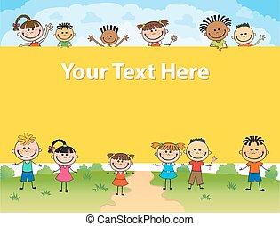 skwer, dookoła, dzieciaki, afisz, ilustracja, za, wektor, bunner, chorągiew