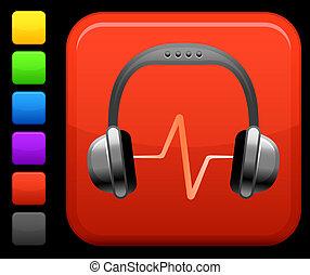 skwer, guzik, słuchawki, internet, dźwiękowy, ikona