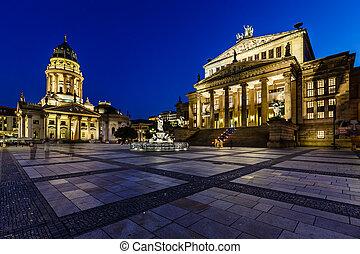 skwer, koncert, niemiec, gendarmenmarkt, niemcy, berlin, katedra, noc, hala