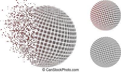 skwer, kropkowany, abstrakcyjny, halftone, kula, rozkładany, pixel, ikona