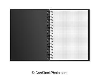 skwer, mockup, spirala, realistyczny, notatnik, czarnoskóry, listki, ruszt, biały, otwarty