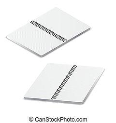skwer, otwarty, szablon, notatnik, grid.