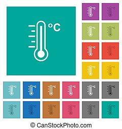 skwer, płaski, celsjusz, ikony, barwny, multi, temperatura, termometr, ciepły