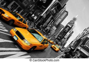 skwer, ruch, taksówka, plama, miasto, czasy, york, ognisko, nowy